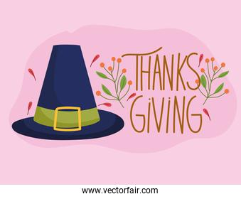 happy thanksgiving day, pilgrim hat foliage season decoration card