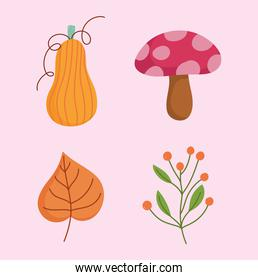 happy thanksgiving day, mushroom pumpkin leaf and branch with berries icons