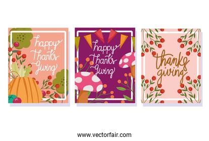 happy thanksgiving day, autumn season celebration leaves mushroom pumpkin branch celebration banners