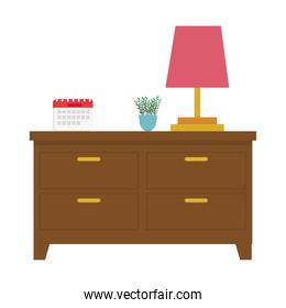 lamp calendar and plant on furniture vector design