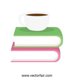 coffee cup on books vector design