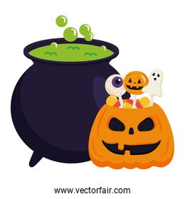 halloween pumpkin cartoon with candies and witch bowl vector design