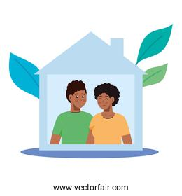 woman and man cartoons stay at home with leaves vector design