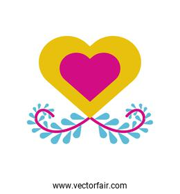 heart with branch with leafs flat style icon