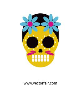 traditional mexican skull head with flowers flat style icon