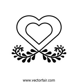 heart with branch with leafs line style icon