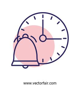 Bell with clock line style icon vector design
