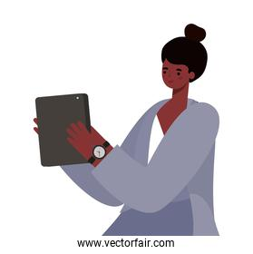black woman cartoon with tablet working vector design
