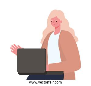 blond woman with laptop working vector design
