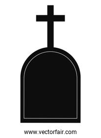 grave with cross vector design