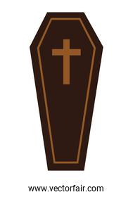 Isolated coffin with cross vector design