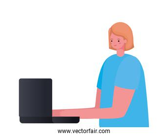 blond woman cartoon with laptop working vector design