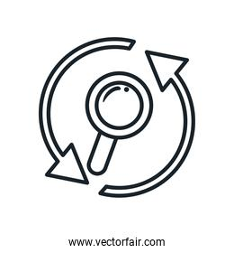 lupe with repeat arrows line style icon vector design