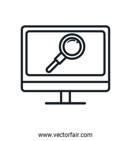 lupe in computer line style icon vector design