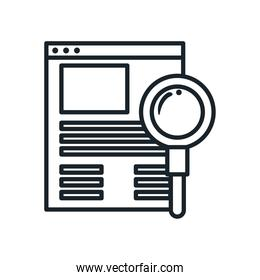 lupe with website line style icon vector design