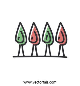 trees line and fill style icon vector design