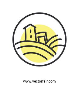 farm house line and fill style icon vector design