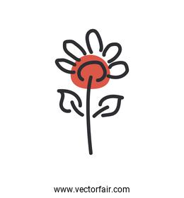 flower line and fill style icon vector design
