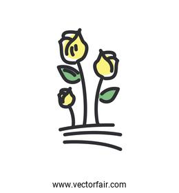 rose flowers line and fill style icon vector design