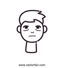 man cartoon with insomnia line style icon vector design