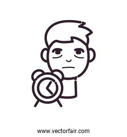 man cartoon with insomnia and clock line style icon vector design