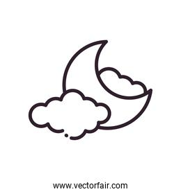 moon with clouds line style icon vector design