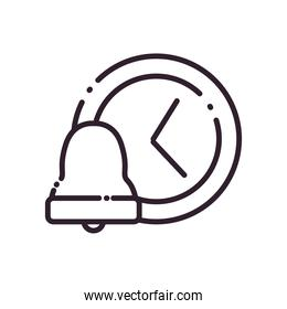 bell and clock line style icon vector design