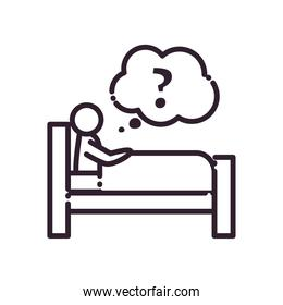 sleeping man on bed with question mark in bubble line style icon vector design