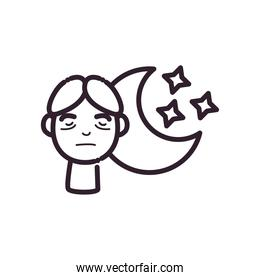man cartoon with insomnia and moon line style icon vector design