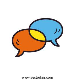 Communication bubbles line and fill style icon vector design