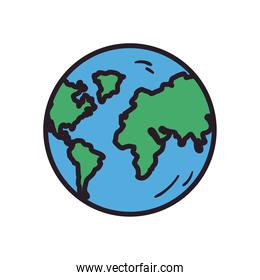 world sphere line and fill style icon vector design