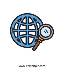 Global sphere with lupe line and fill style icon vector design