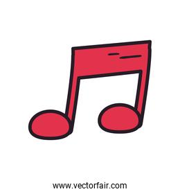 music note line and fill style icon vector design