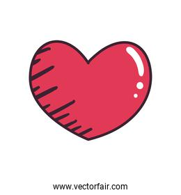 pop art heart line and fill style icon vector design