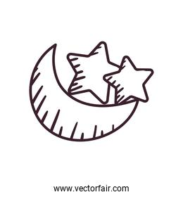 moon with stars line style icon vector design