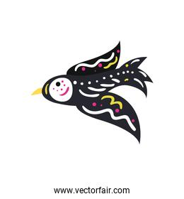 Mexican day of deads skull bird free form style icon vector design
