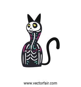 Mexican day of deads skull cat free form style icon vector design