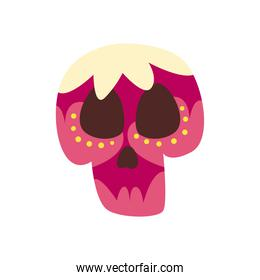 Mexican day of deads skull head free form style icon vector design