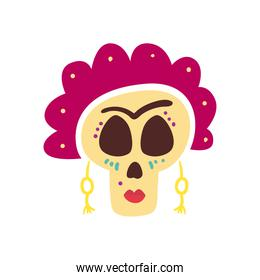 Mexican day of deads frida skull head free form style icon vector design