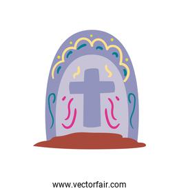 Mexican day of deads grave free form style icon vector design