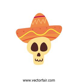 Mexican day of deads skull head with hat free form style icon vector design