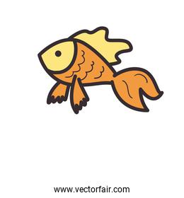 Fish animal line and fill style icon vector design