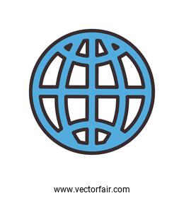 Global sphere line and fill style icon vector design