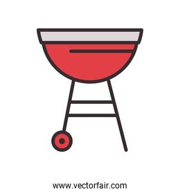 bbq grill line and fill style design vector illustration