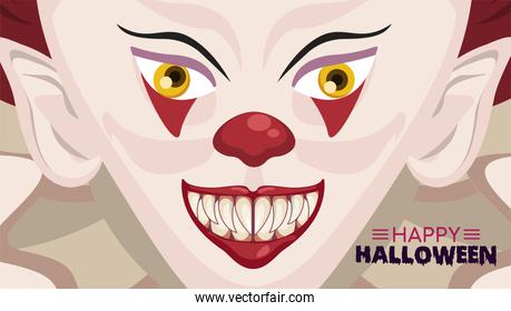 happy halloween horror celebration poster with clown evil