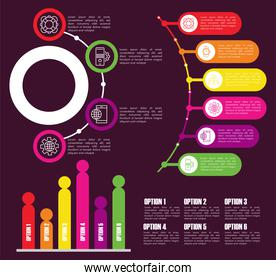 infographic template with statistics in purple background