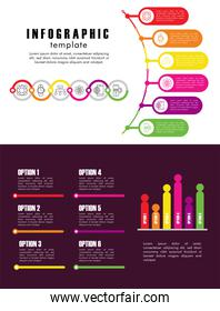 infographic template with statistics in white and purple background