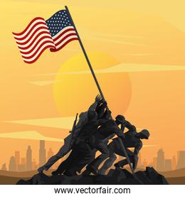 soldiers lifting flag in pole in sunset scene