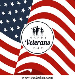 happy veterans day lettering in poster with soldiers in circular frame usa flag background