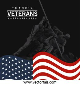 happy veterans day lettering in poster with soldier lifting flag in pole